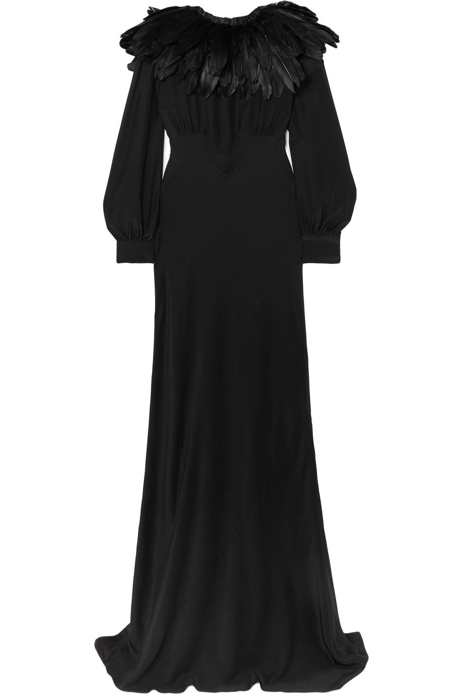 olivia-von-halle-maleficent-angelina-faux-feather-trimmed-silk-crepe-de-chine-gown