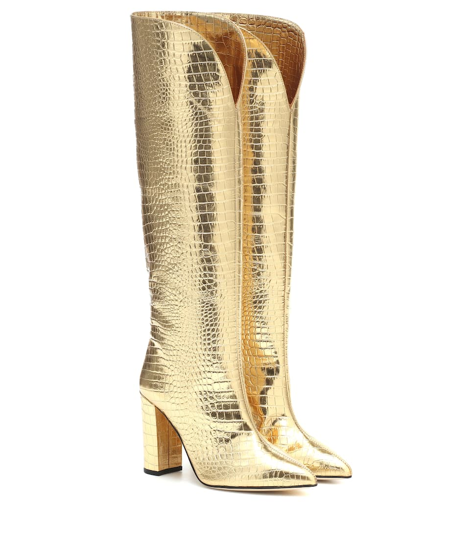 paris-texas-croc-effect-gold-metallic-leather-boots