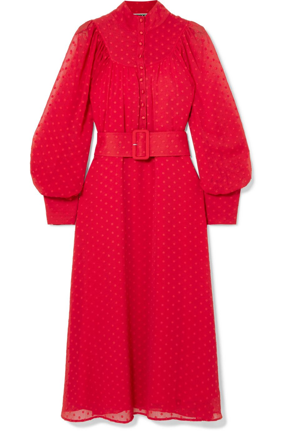 otate-birger-christensen-red-belted-fil-coupe-chiffon-midi-dress