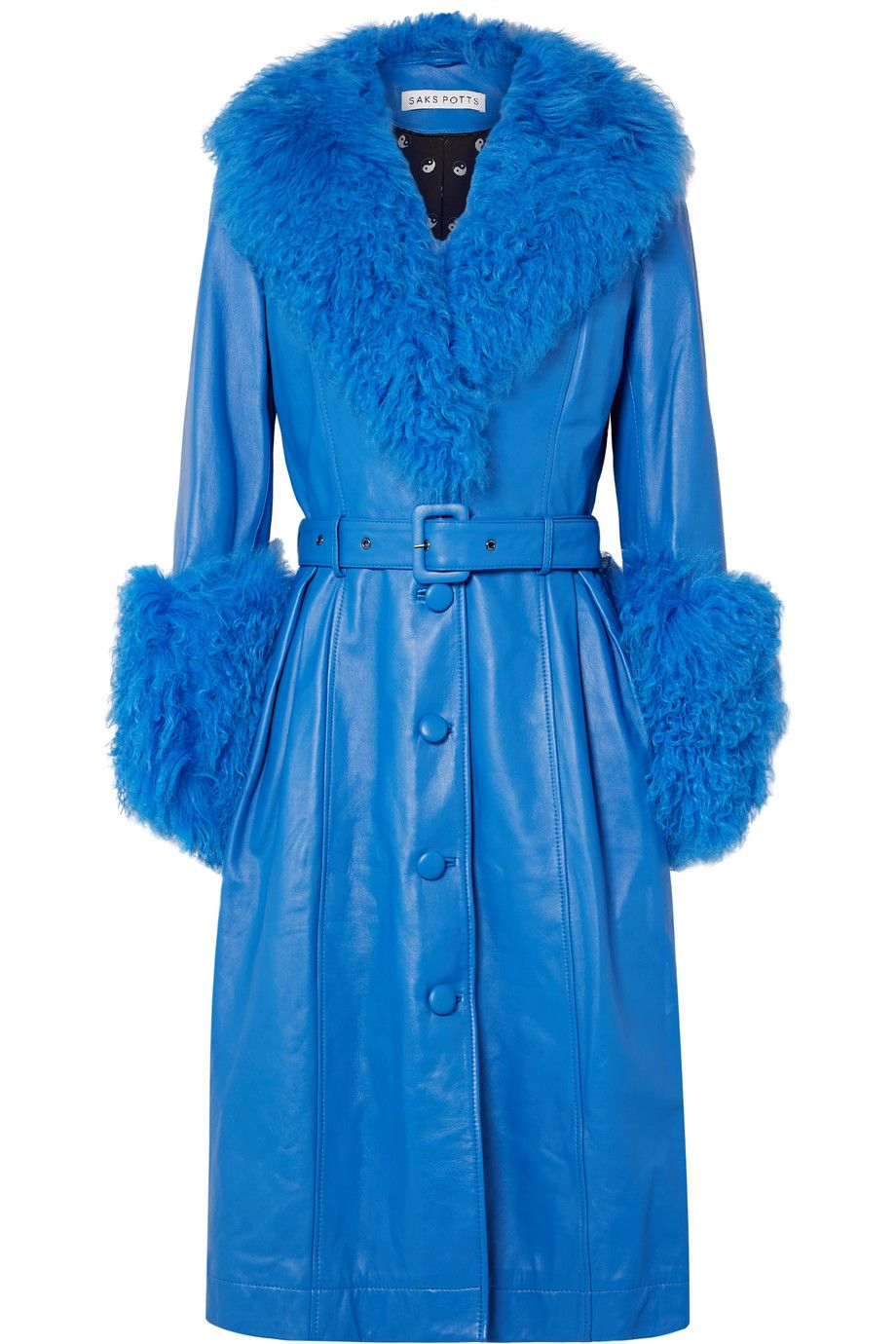saks-potts-foxy-Foxy-belted-shearling-trimmed-leather-coat-bright-blue