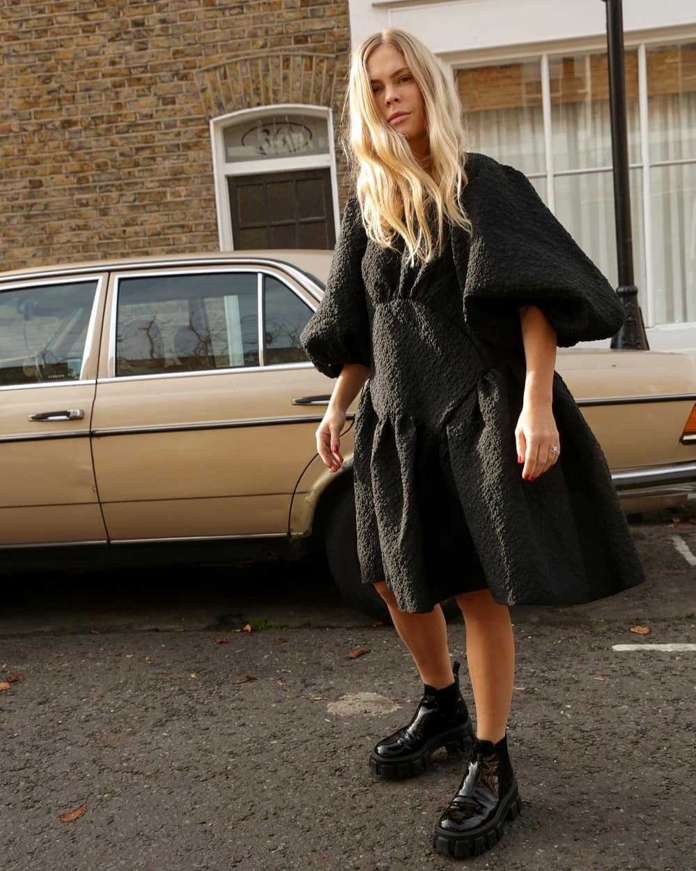 cecilie-bahnsen-oversized-cloque-dress-jessie-bush-instagram