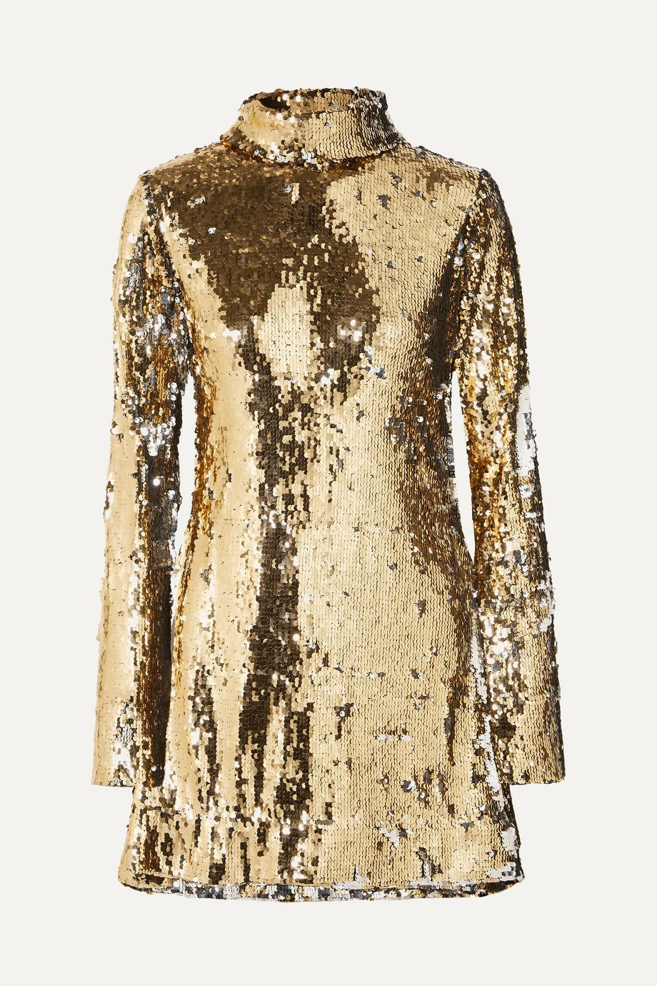 halpern-sequined-tulle-turtleneck-mini-dress