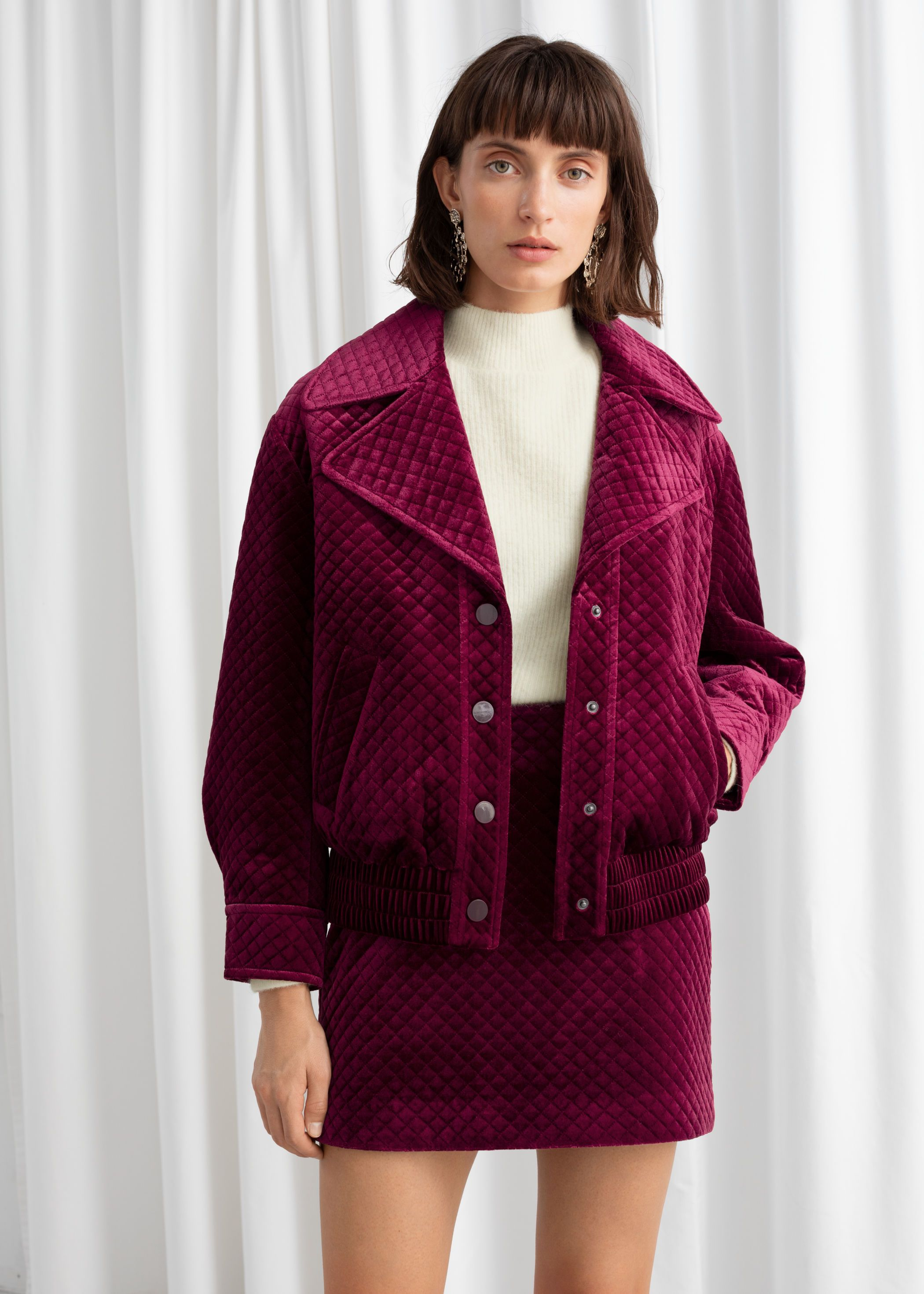 other-stories-quilted-velour-jacket-pink