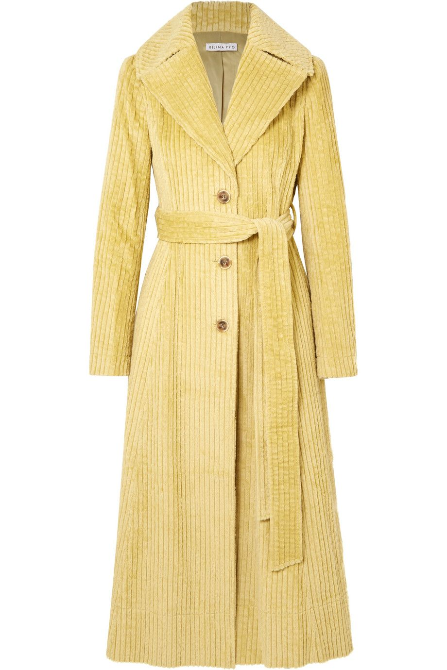 rejina-pyo-rhea-pale-yellow-cotton-corduroy-trench-coat