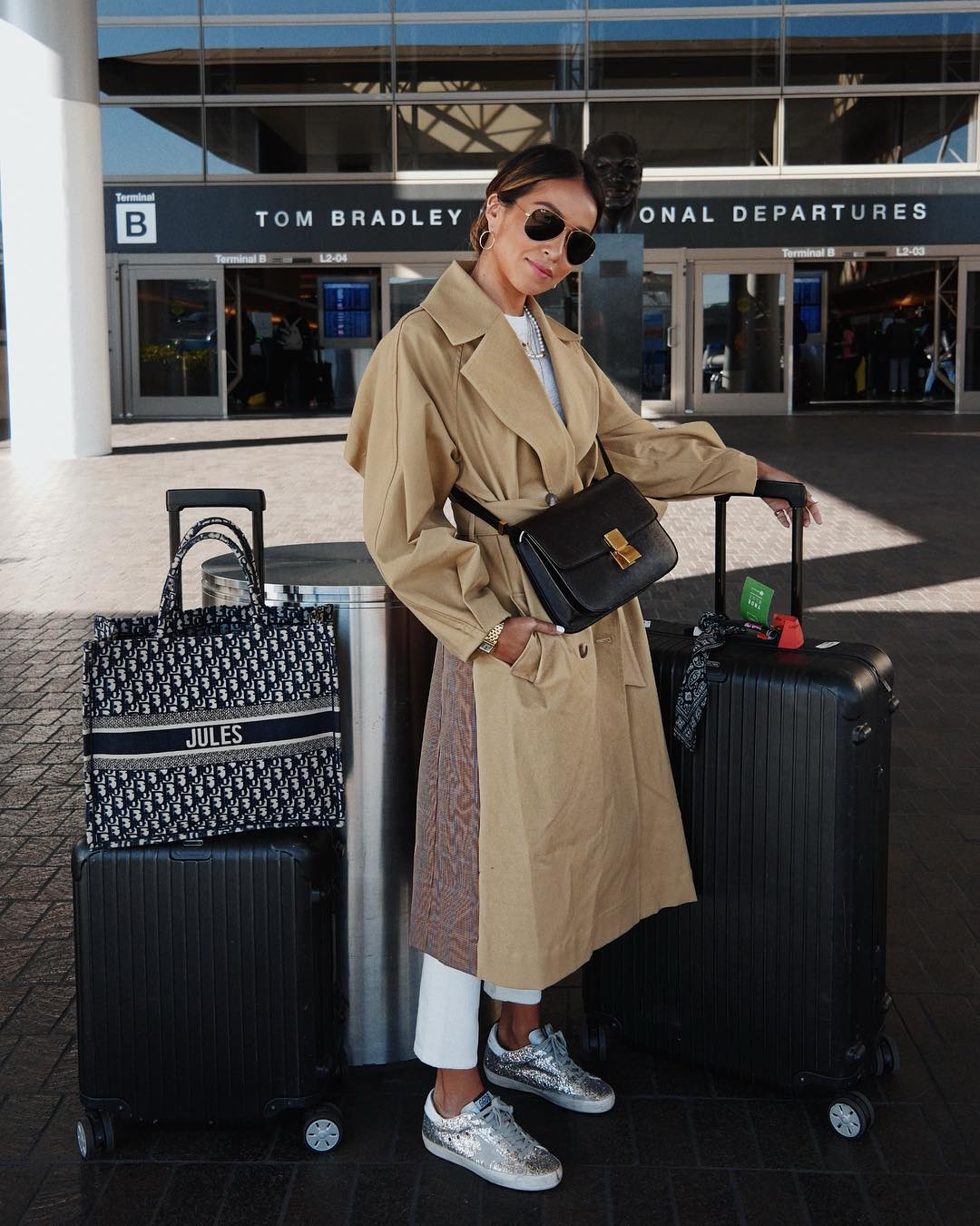 sincerely-jules-airport-outfit-celine-classic-box-bag-instagram