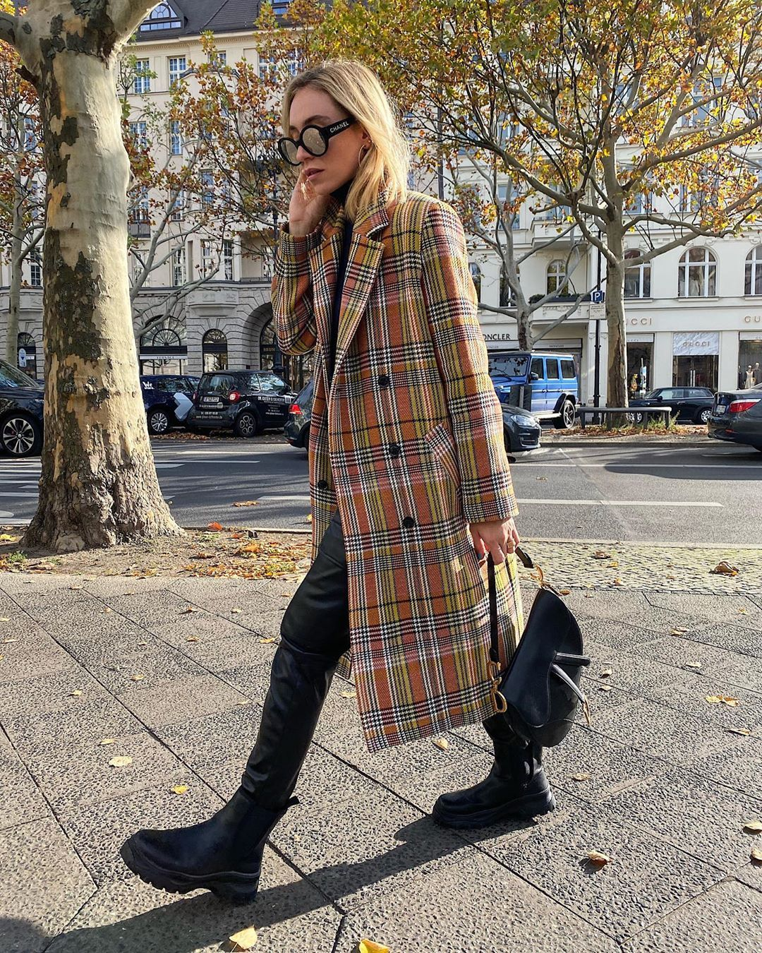 sonia-lyson-samsoe-samsoe-checked-coat-instagram