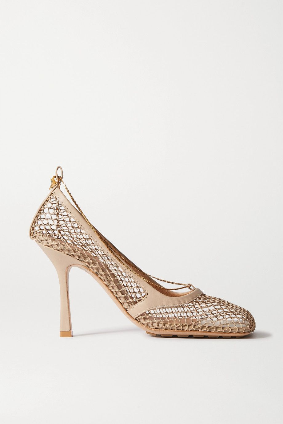 bottega-veneta-beige-chain-embellished-macrame-and-leather-pumps