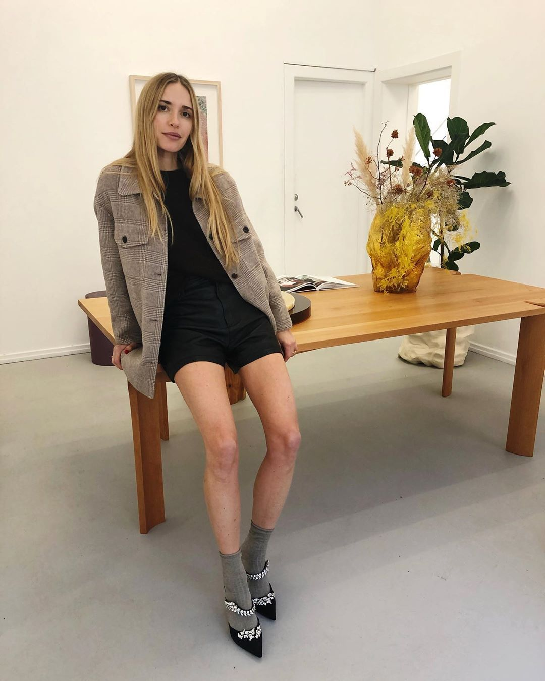 pernille-teisbaek-mango-checkered-jacket-instagram