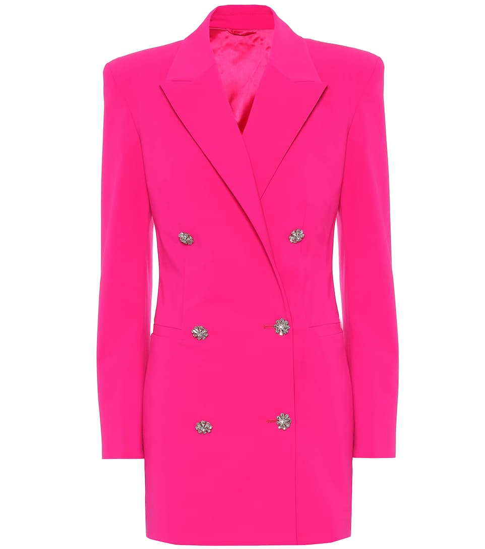 the-attico-fuchsia-stretch-wool-blazer-dress
