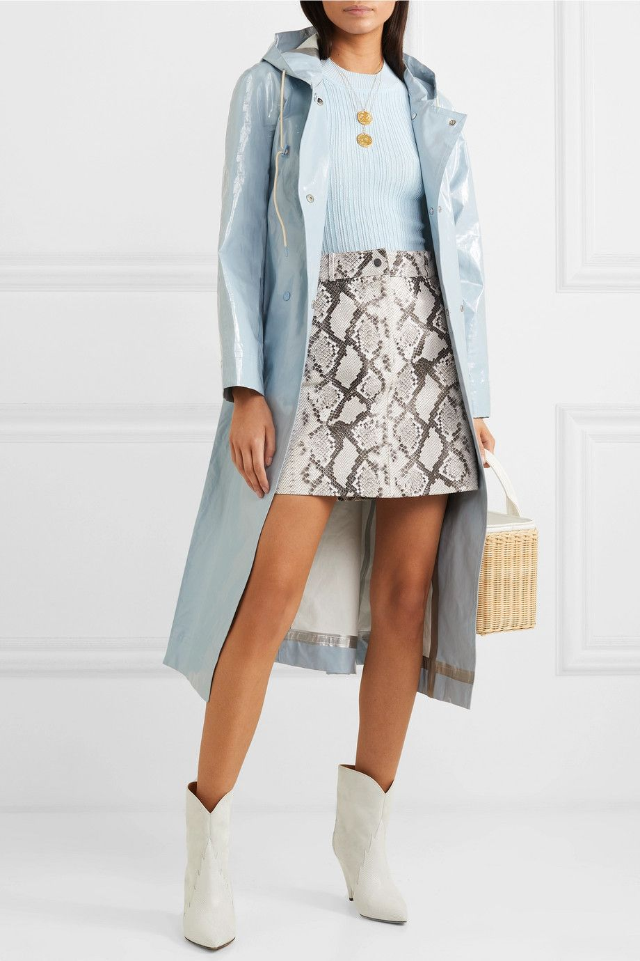 alexachung-hooded-belted-coated-cotton-blend-raincoat