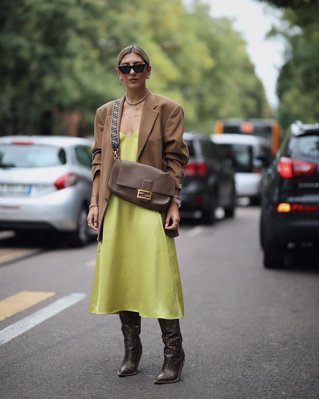 aylin-koenig-slip-satin-midi-dress-fendi-outfit-instagram