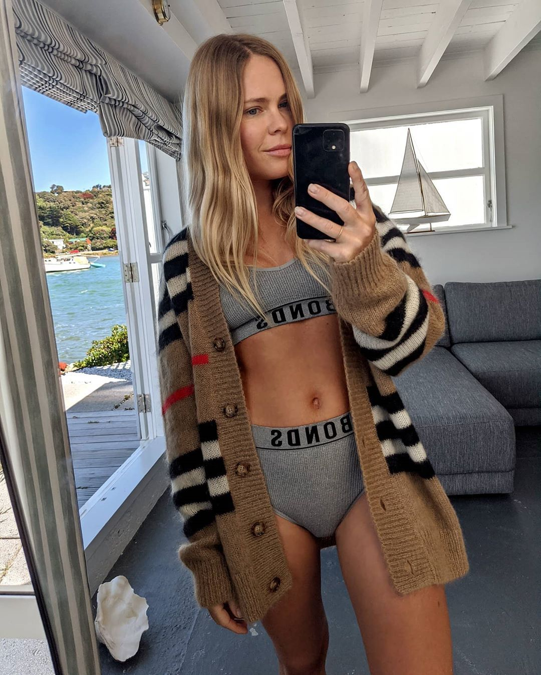 jessie-bush-burberry-striped-mohair-blend-cardigan-summer-outfit