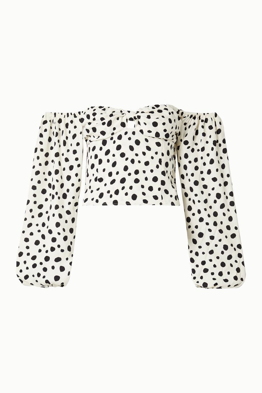 reformation-simi-off-the-shoulder-shirred-polka-dot-crepe-de-chine-blouse