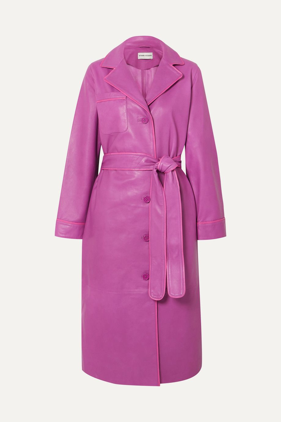 stand-studio-pink-leather-trench-coat