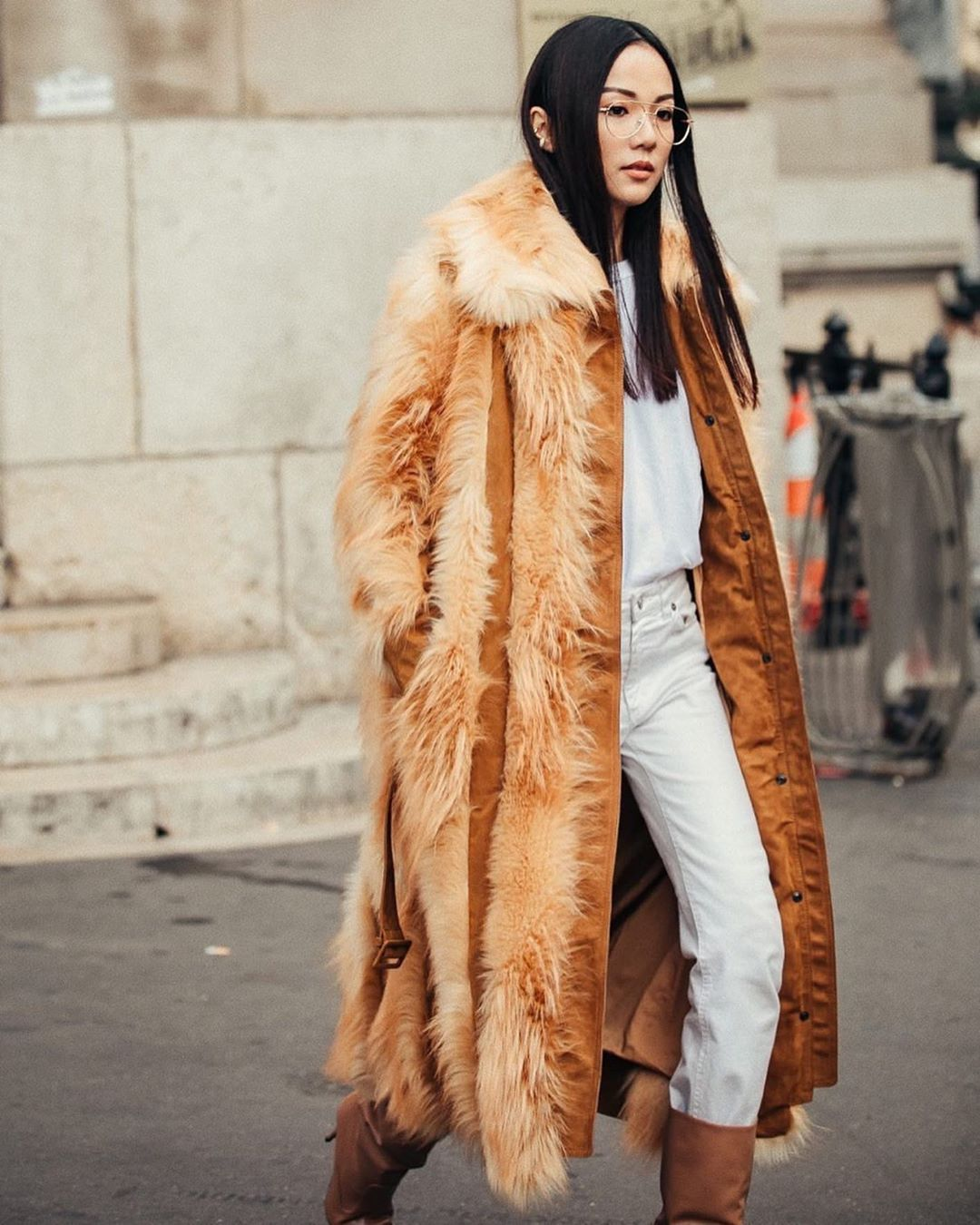 yoyo-cao-white-jeans-stella-mccartney-faux-fur-coat-outfit