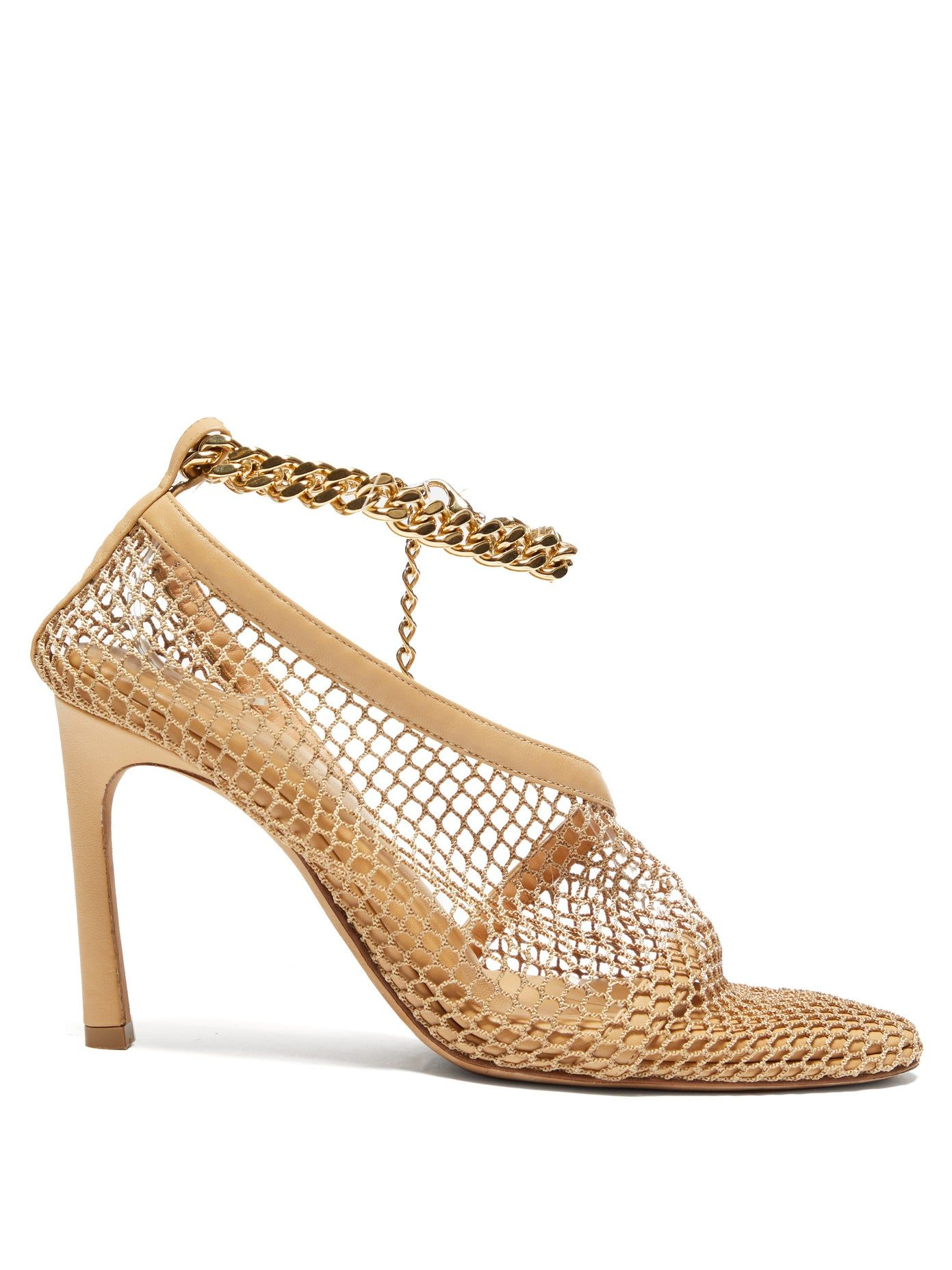 Bottega-Veneta-Anklet-embellished-crochet-mesh-pumps