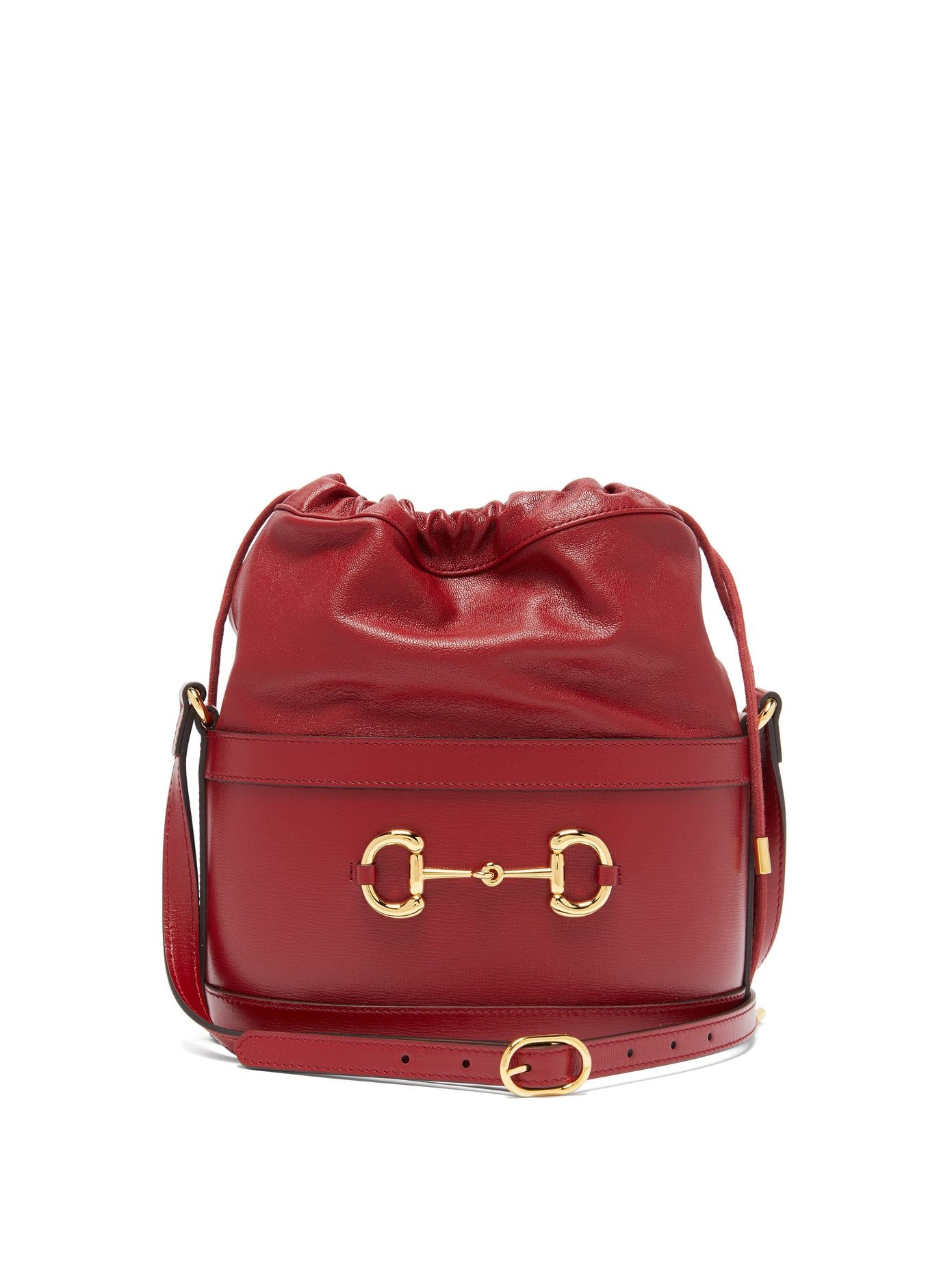 Gucci-1955-Horsebit-grained-leather-bucket-bag-red