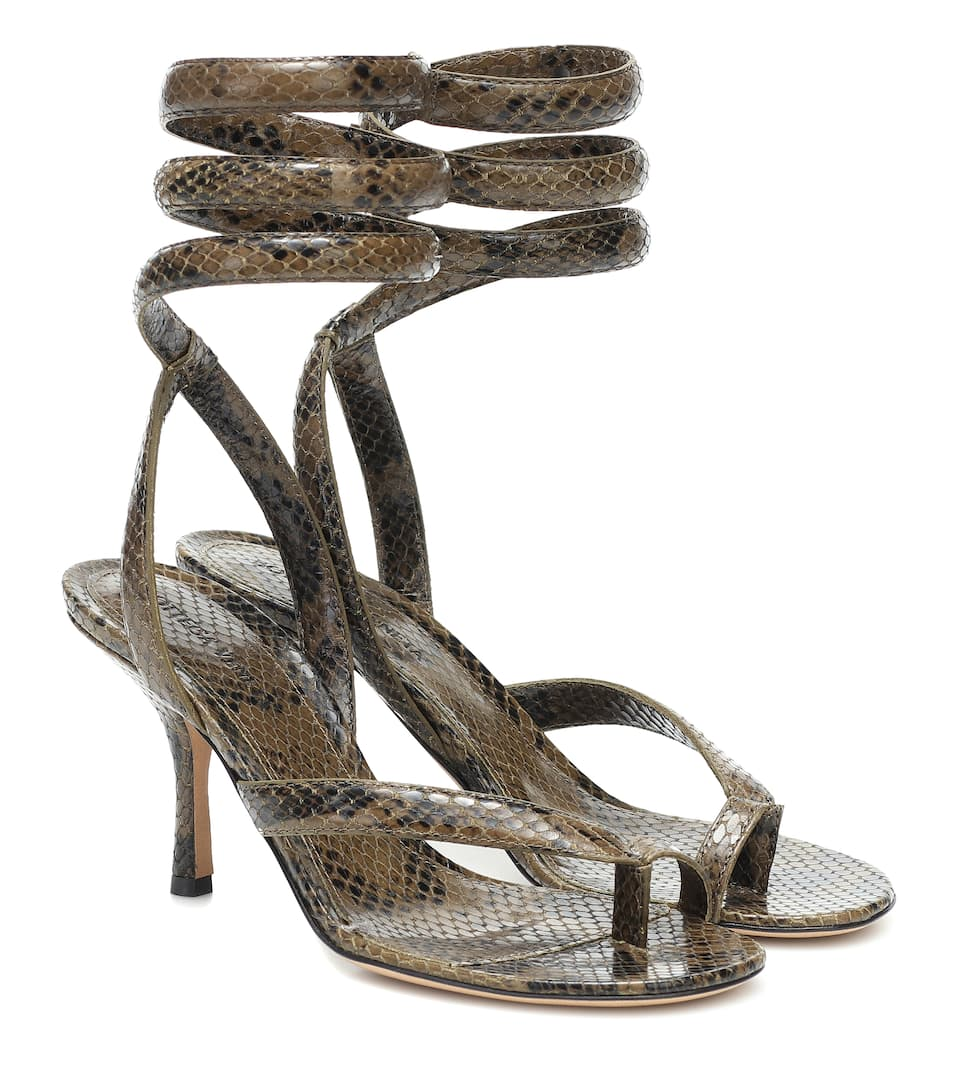bottega-veneta-snake-effect-leather-sandals-khaki-green