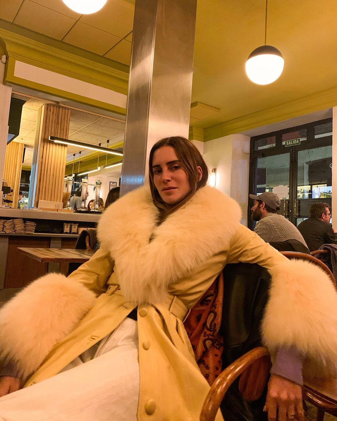 gala-gonzalez-saks-potts-pale-yellow-faux-fur-belted-coat-instagram