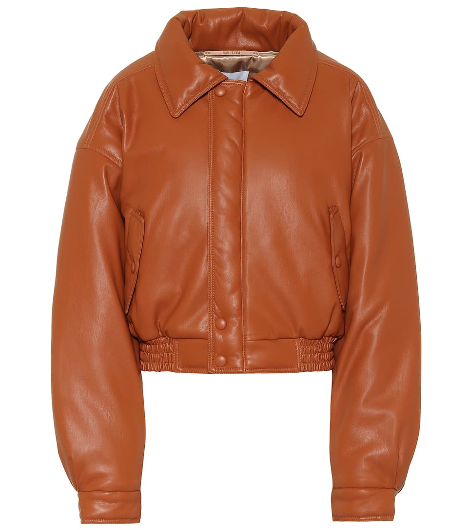 nanushka-bomi-burnt-orange-vegan-leather-bomber-jacket