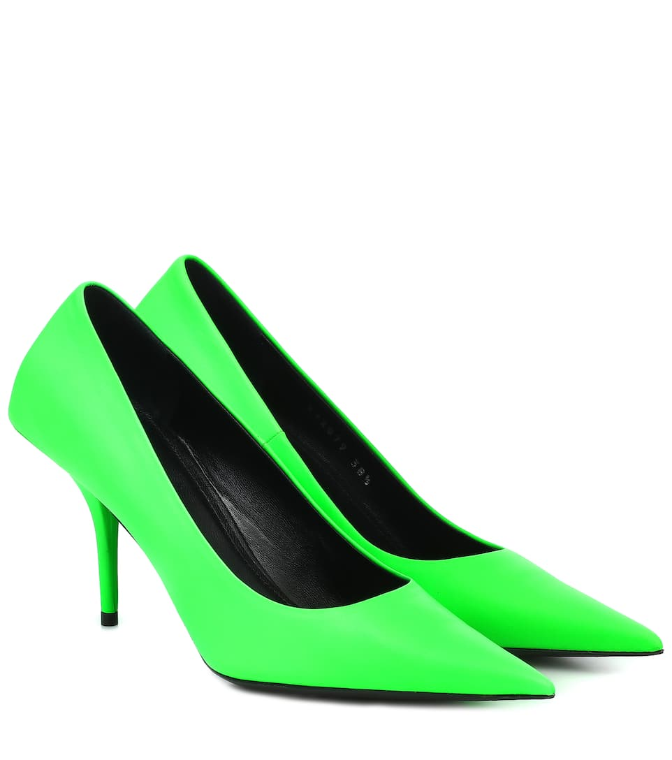 balenciaga-square-knife-leather-pumps-neon-green