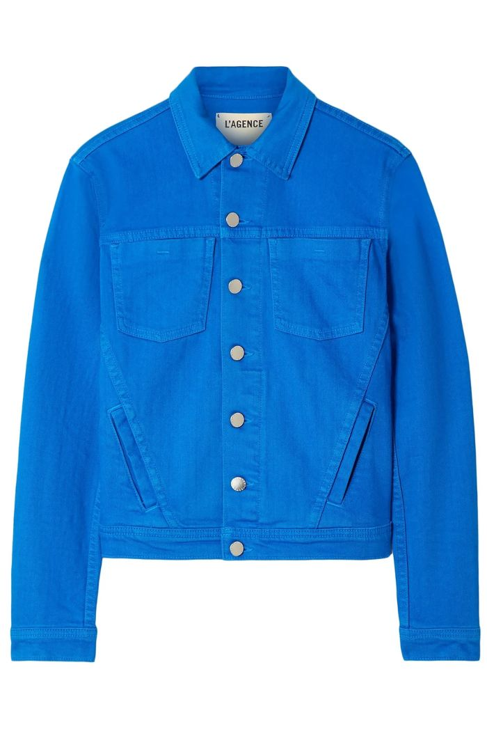 lagence-cobalt-blue-denim-jacket-outnet-clearance