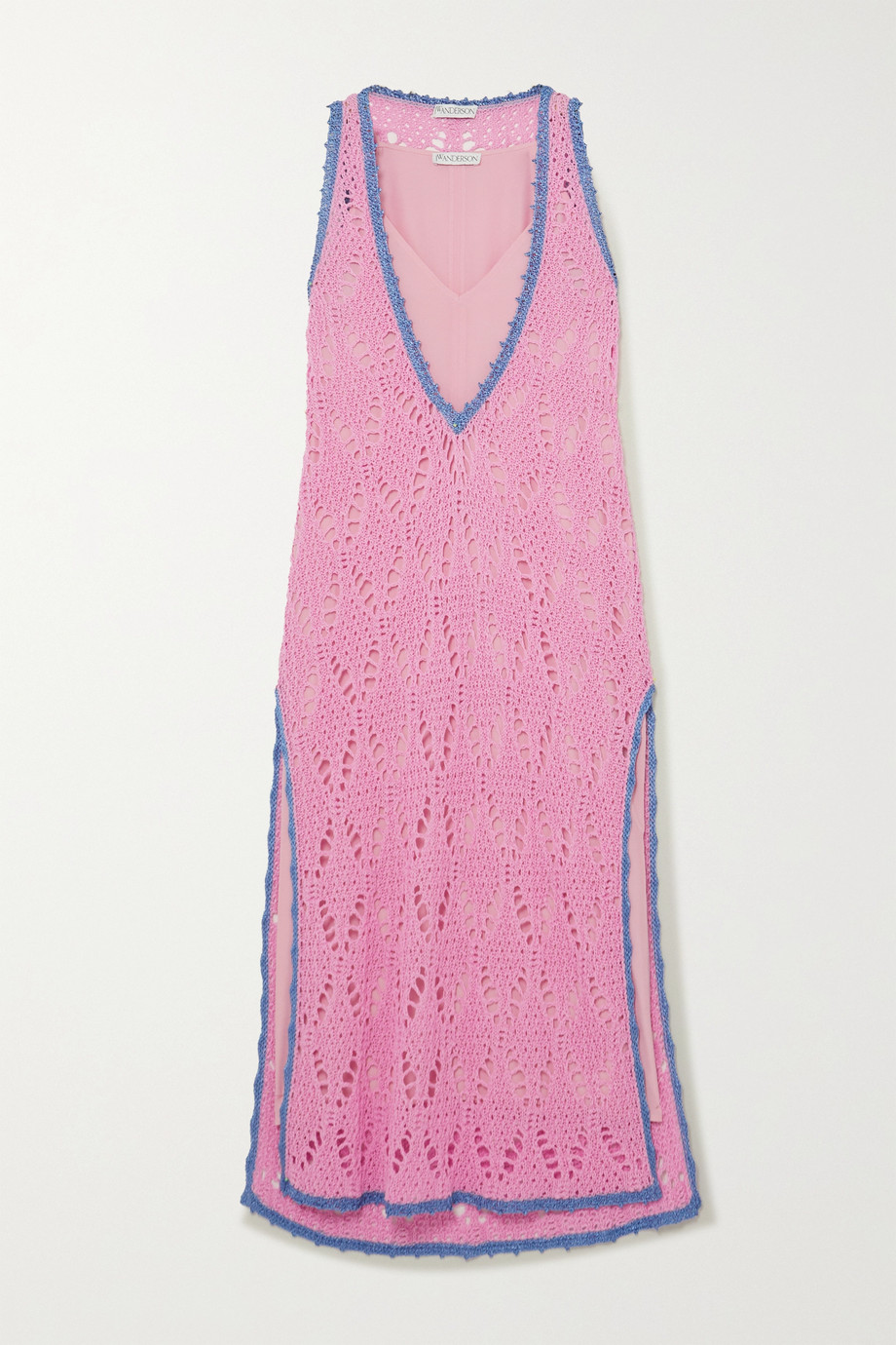 jw-anderson-layered-two-tone-crocheted-cotton-and-crepe-de-chine-maxi-dress