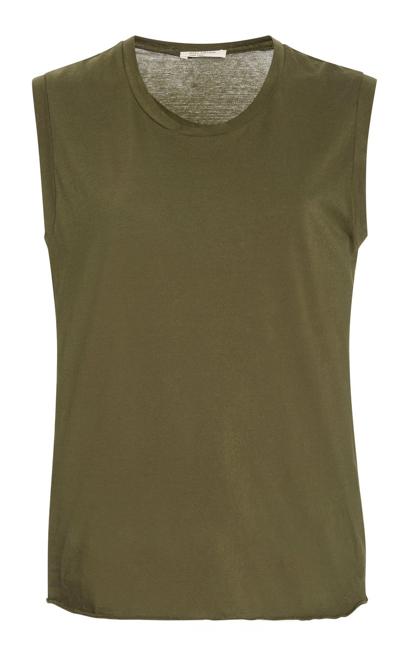 nili-lotan-green-sleeveless-cotton-jersey-muscle-tee