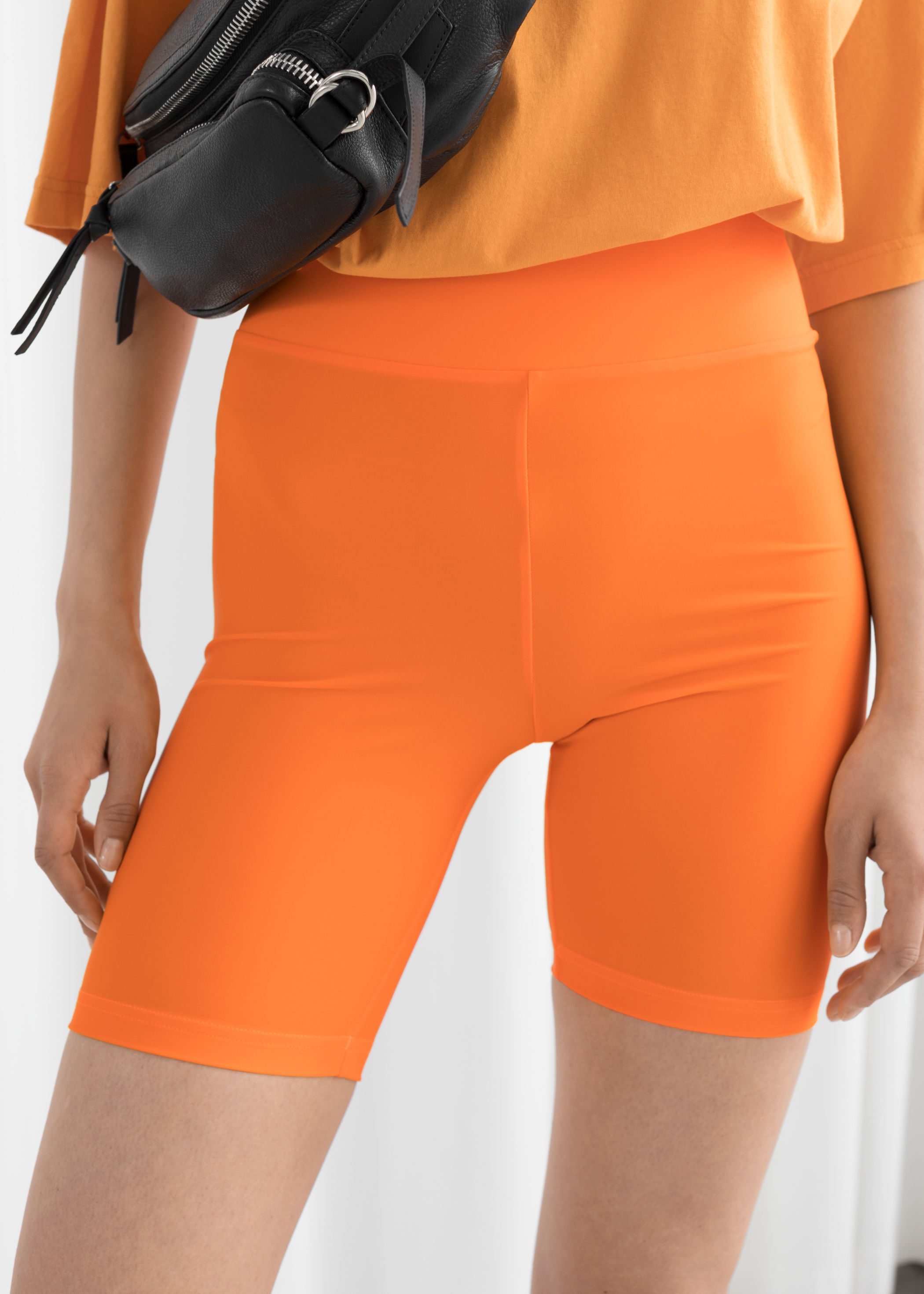 other-stories-fitted-cycling-shorts-orange