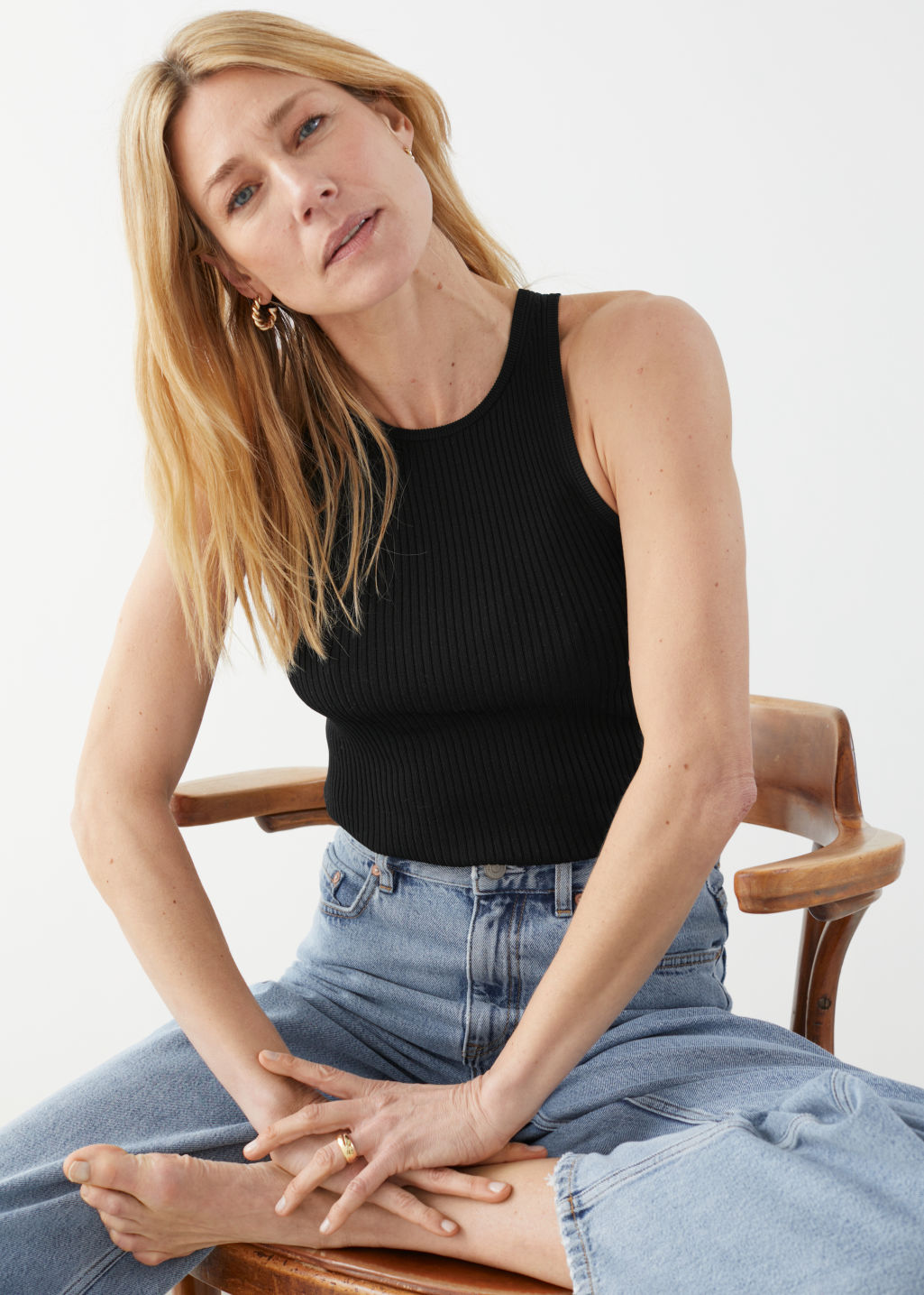 other-stories-fitted-ribbed-tank-top-black