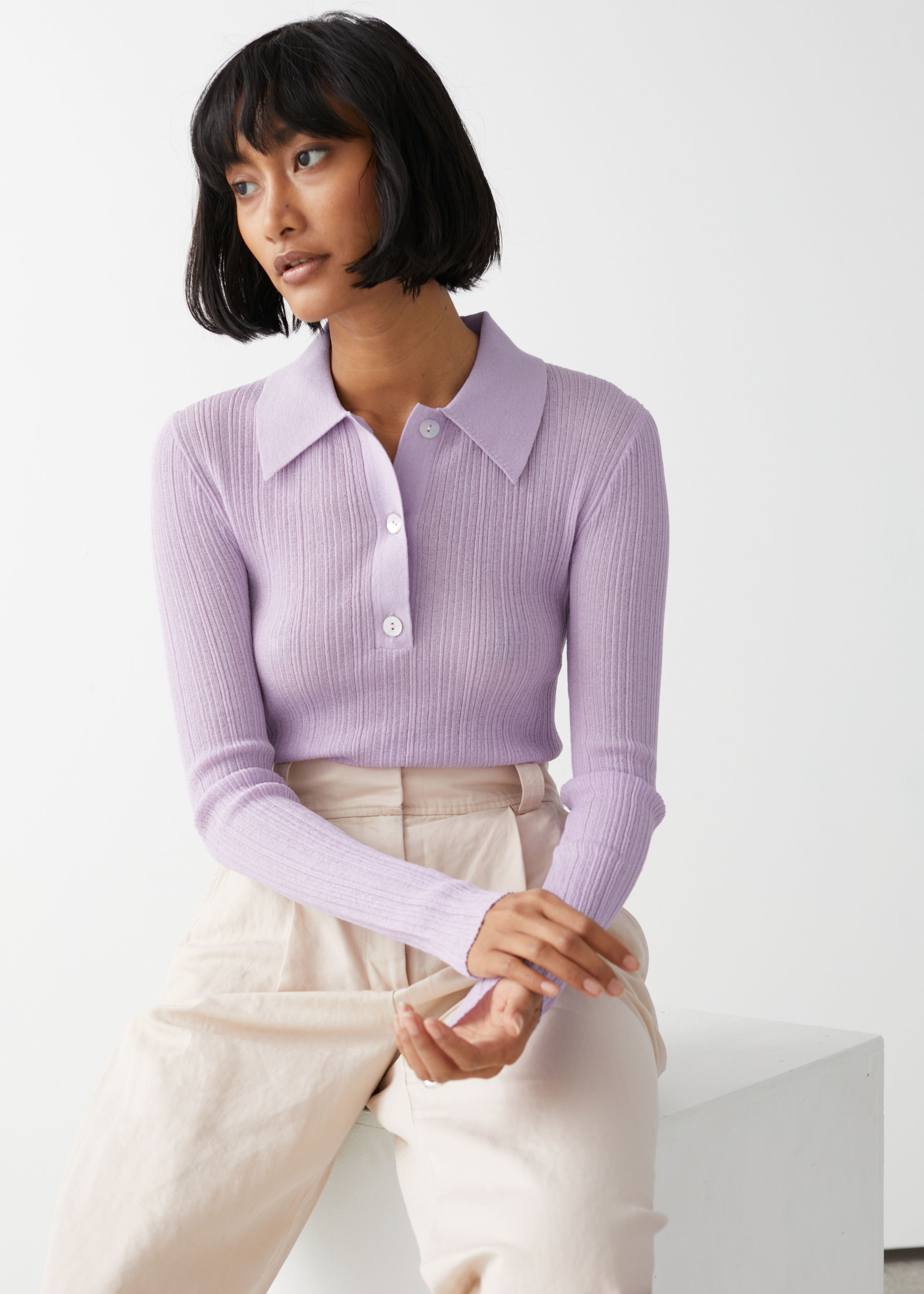 other-stories-sheer-fitted-polo-top-purple
