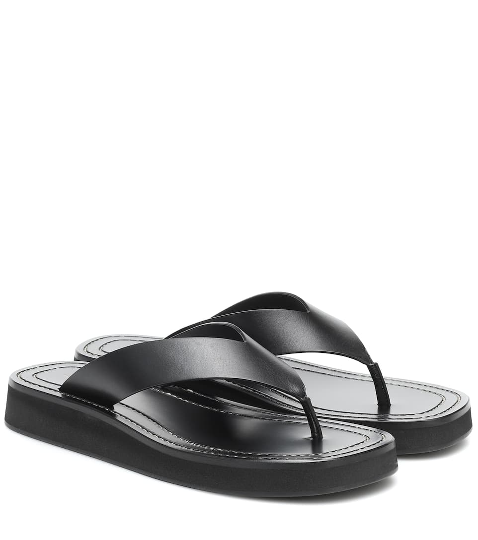 the-row-ginza-black-leather-platform-slides
