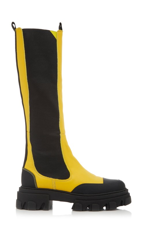ganni-leather-knee-high-boots-yellow-fall-2020
