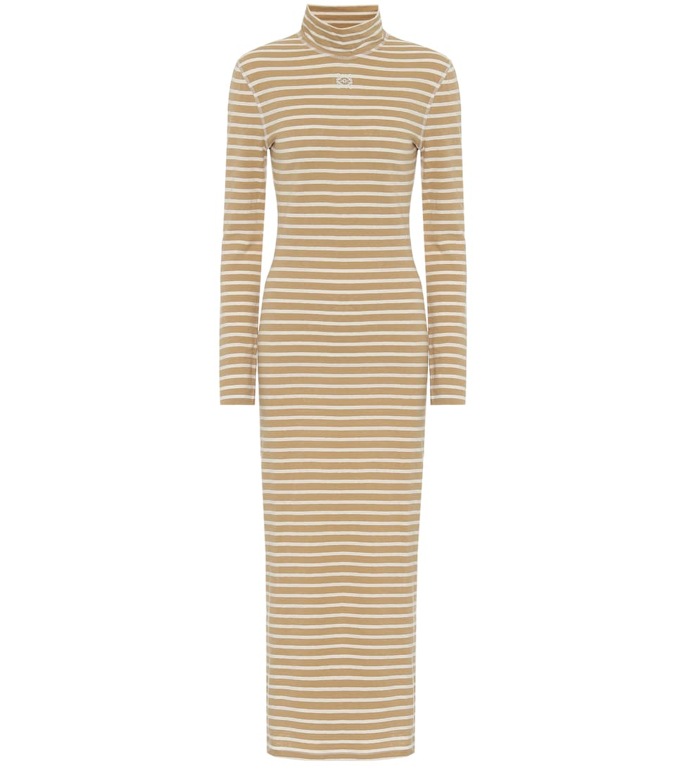 loewe-striped-cotton-jersey-midi-dress-beige