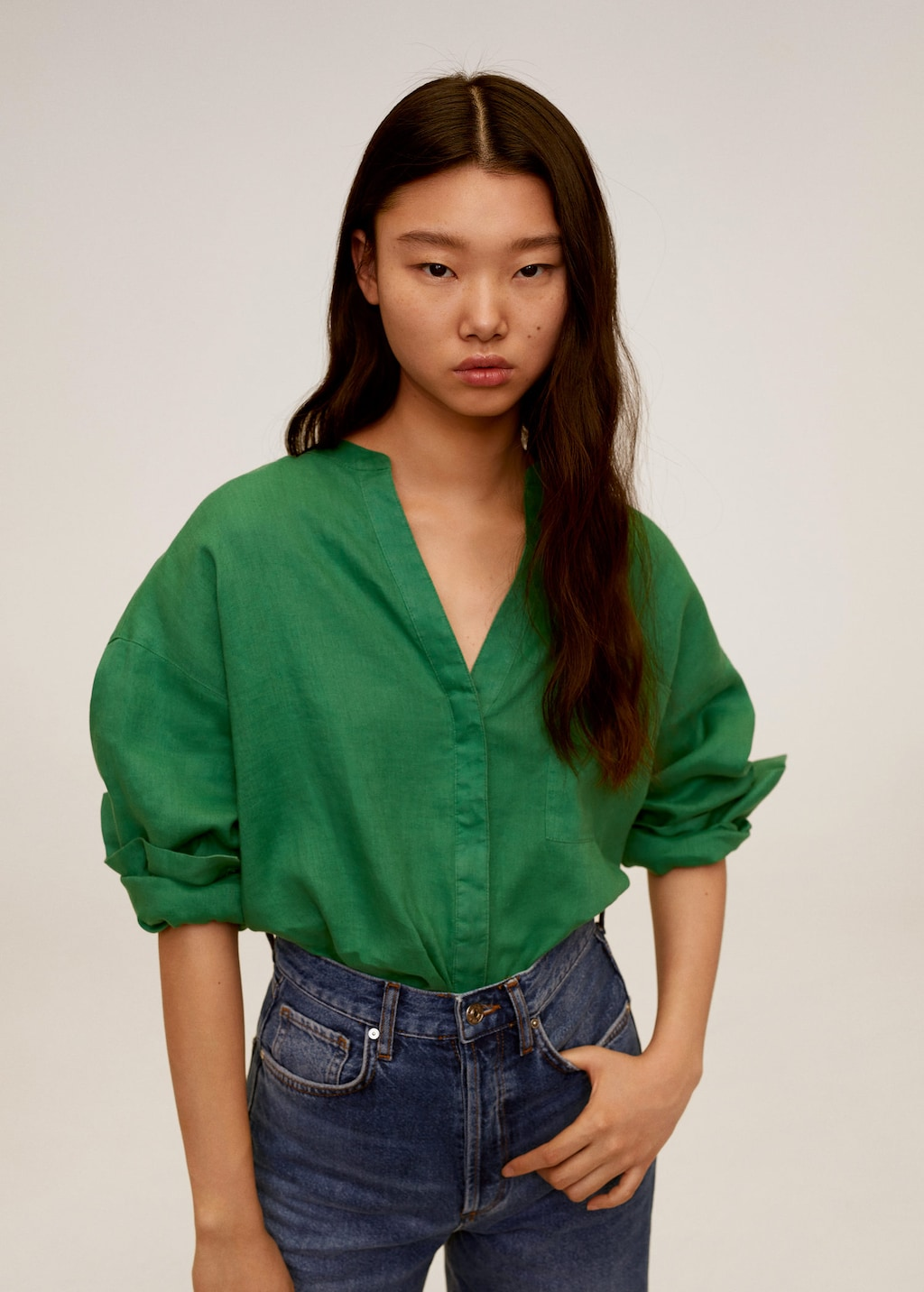 mango-mao-collar-linen-shirt-green