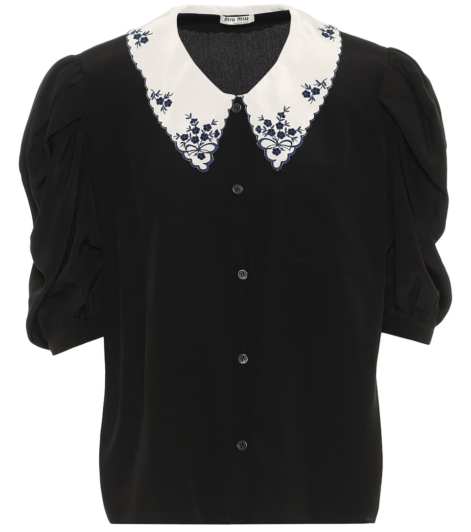 miu-miu-black-silk-floral-embroidered-collar-puff-sleeves-blouse