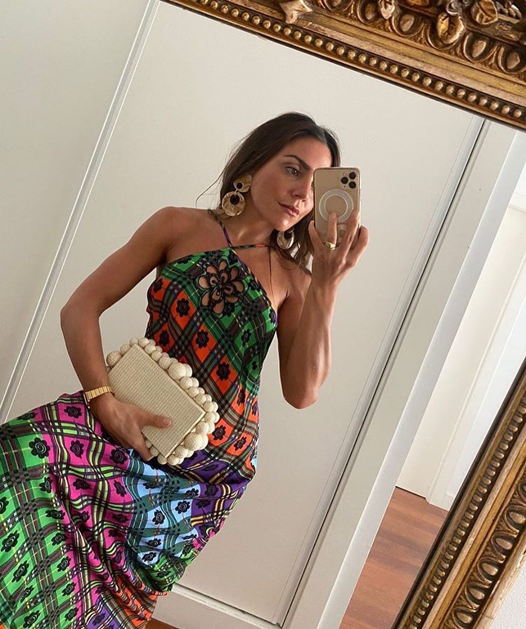 rixo-rainbow-floral-check-print-dress-paula-ordovas-instagram