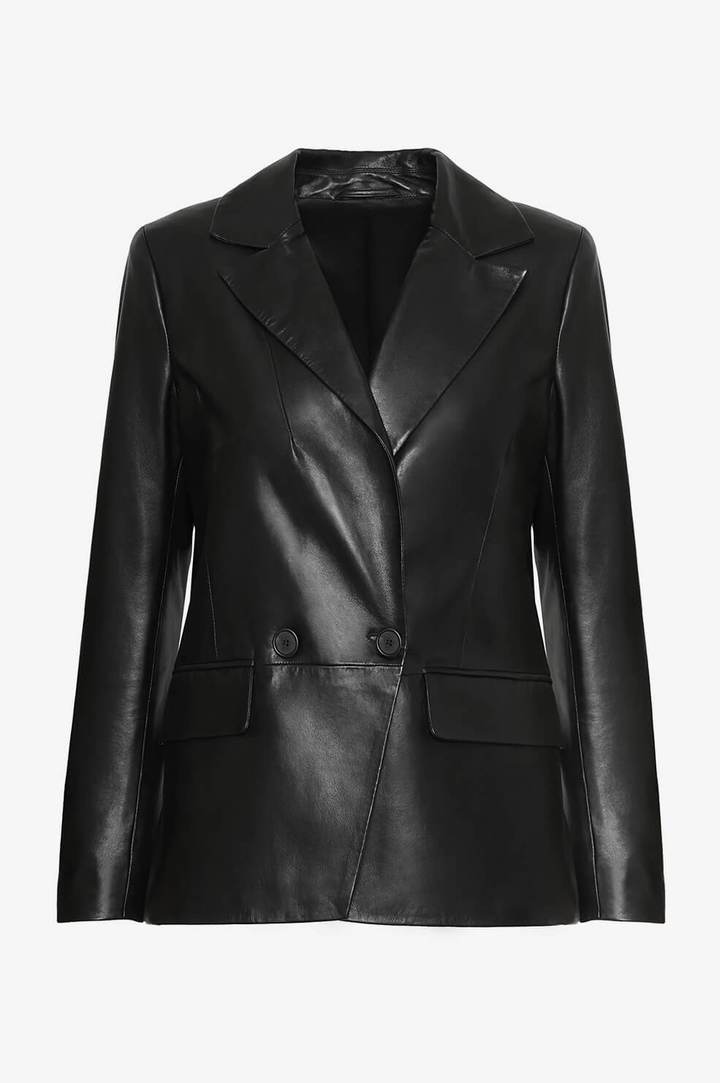 anine-bing-grace-blazer-black-leather