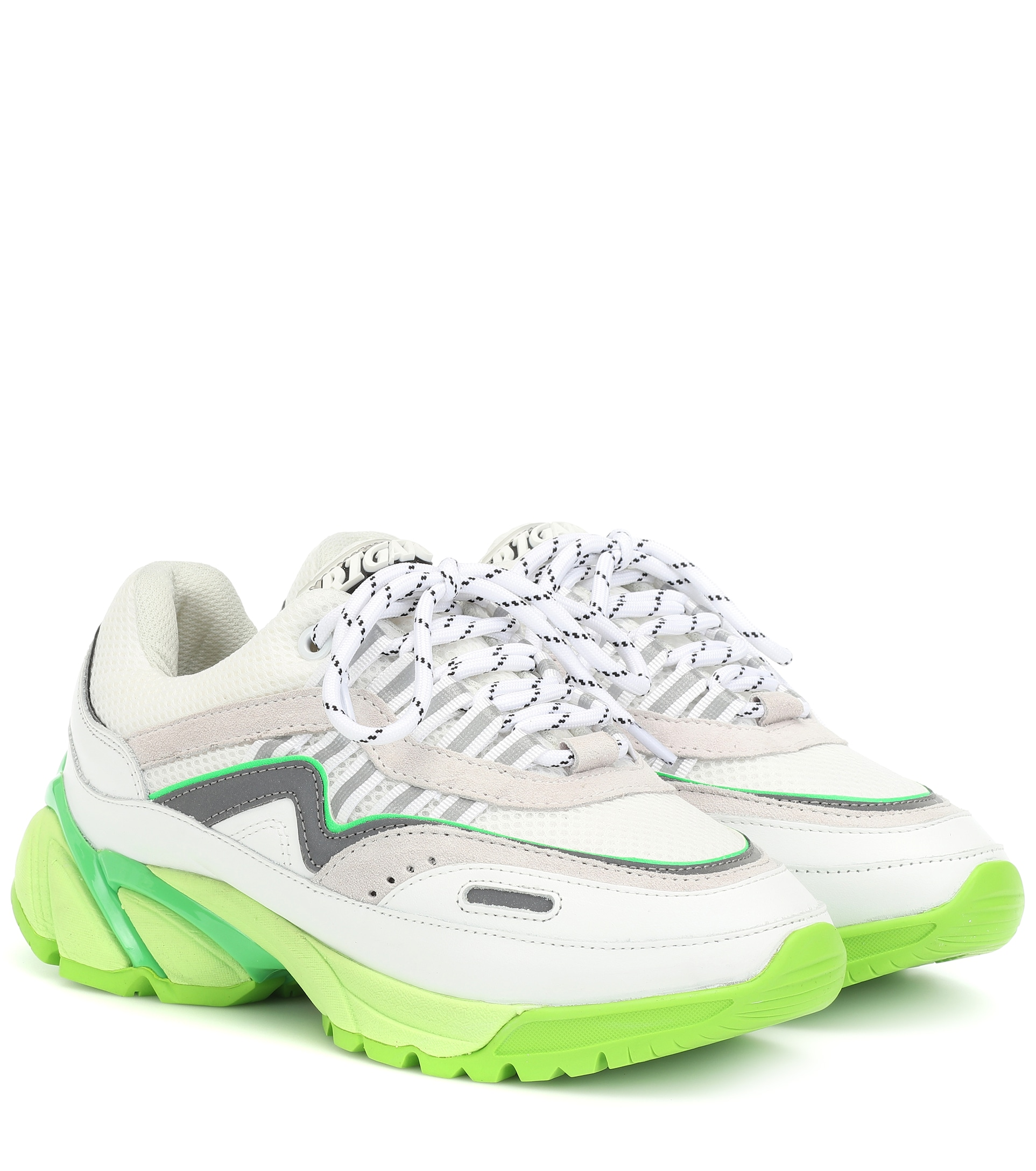 xel-arigato-exclusive-to-mytheresa-leather-and-mesh-sneakers-neon-green