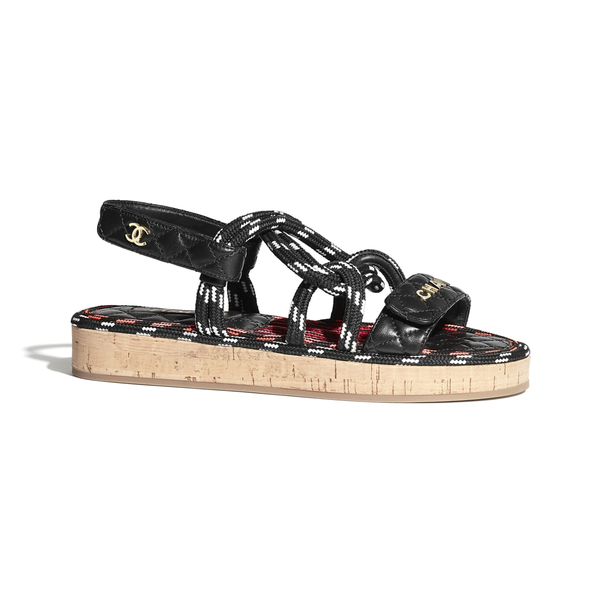 chanel-sandals-cord-lambskin-black-white