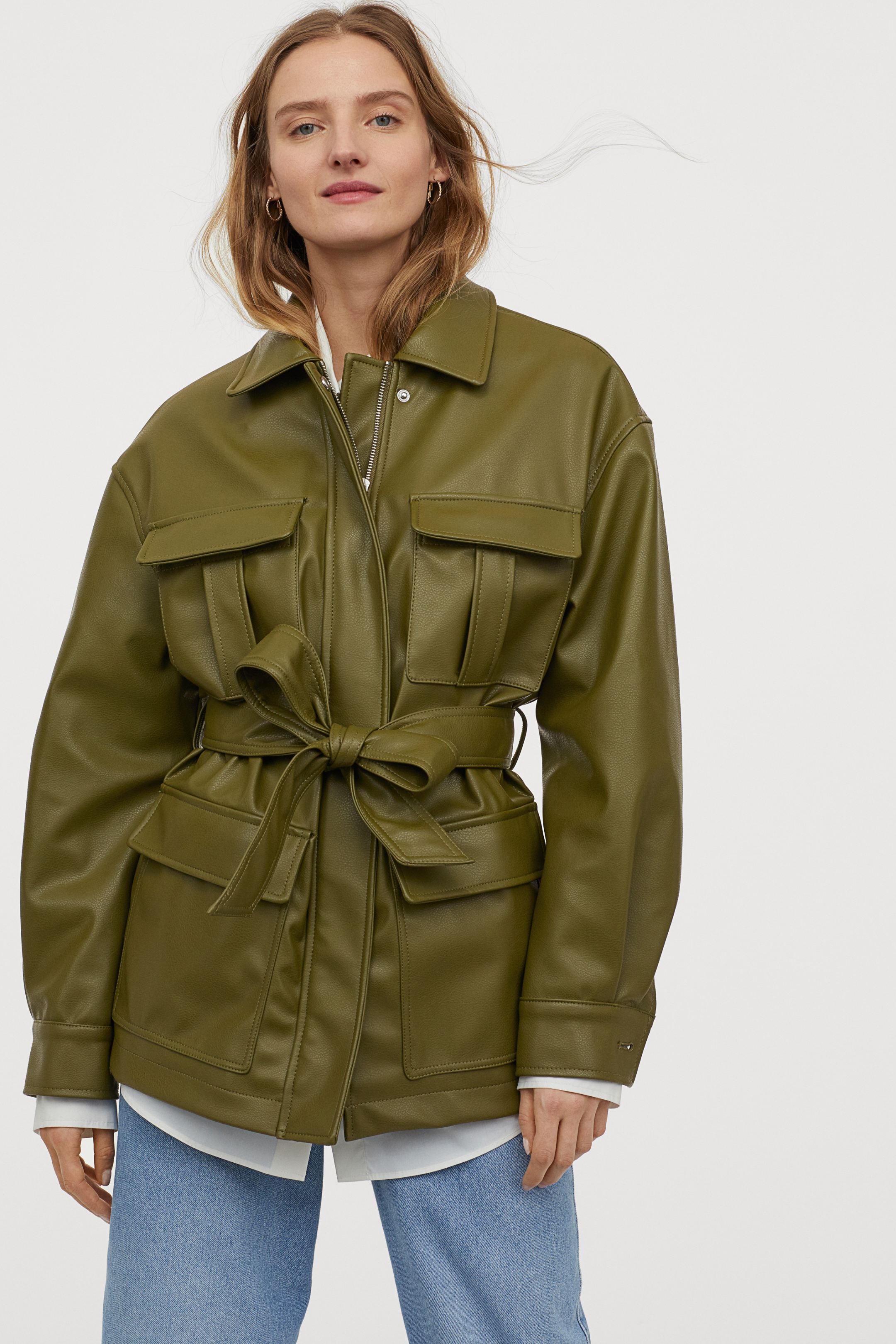 hm-faux-leather-jacket-olive-green