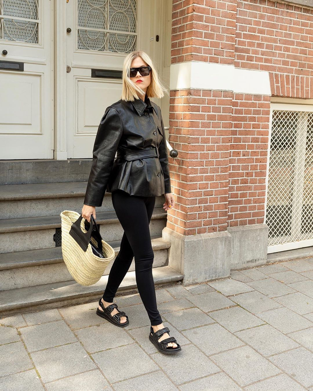 linda-tol-the-frankie-shop-black-leather-belted-blazer-jacket-instagram