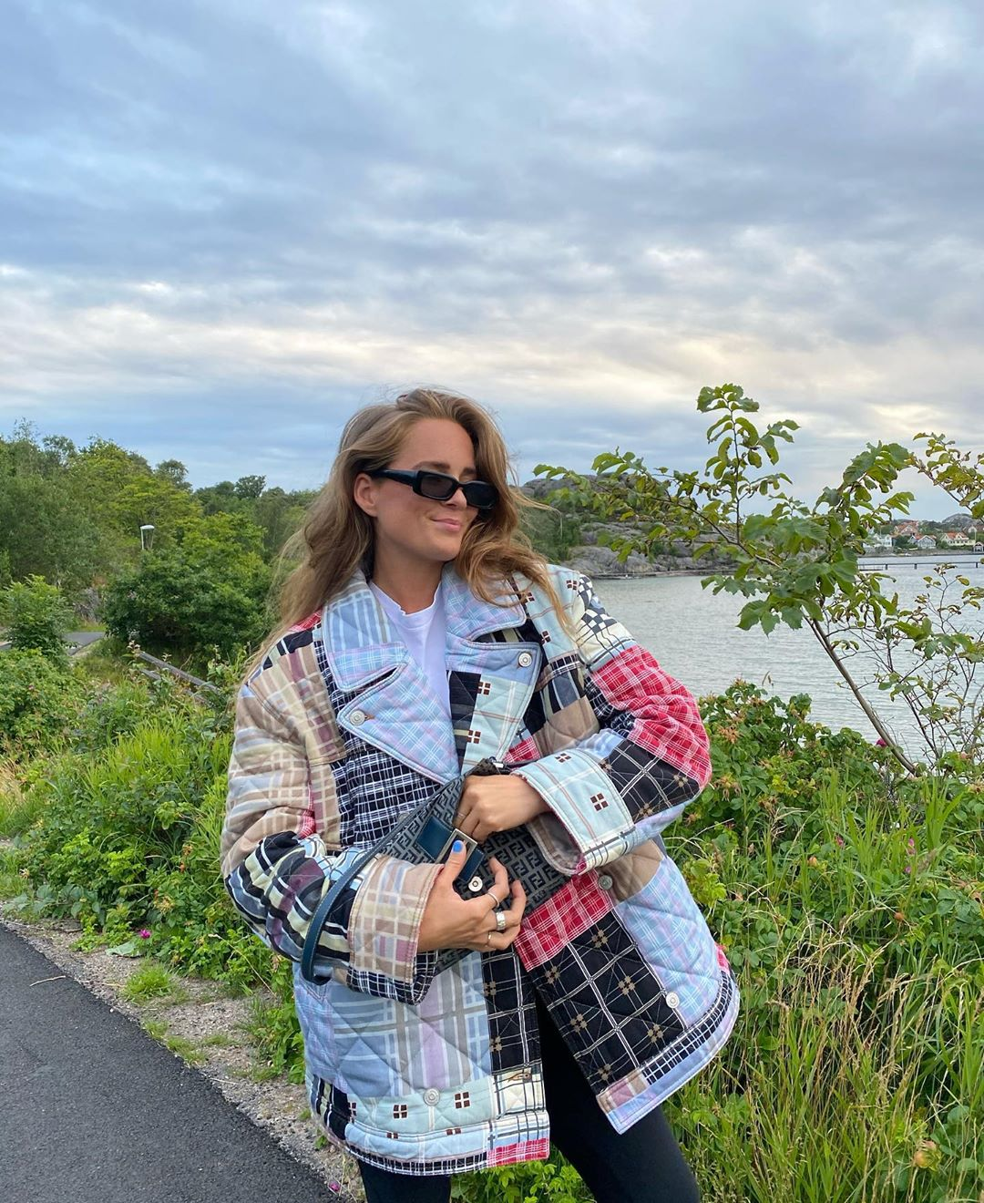 Siri-Sjogren-Ganni-oversized-double-breasted-quilted-patchwork-denim-jacket-instagram