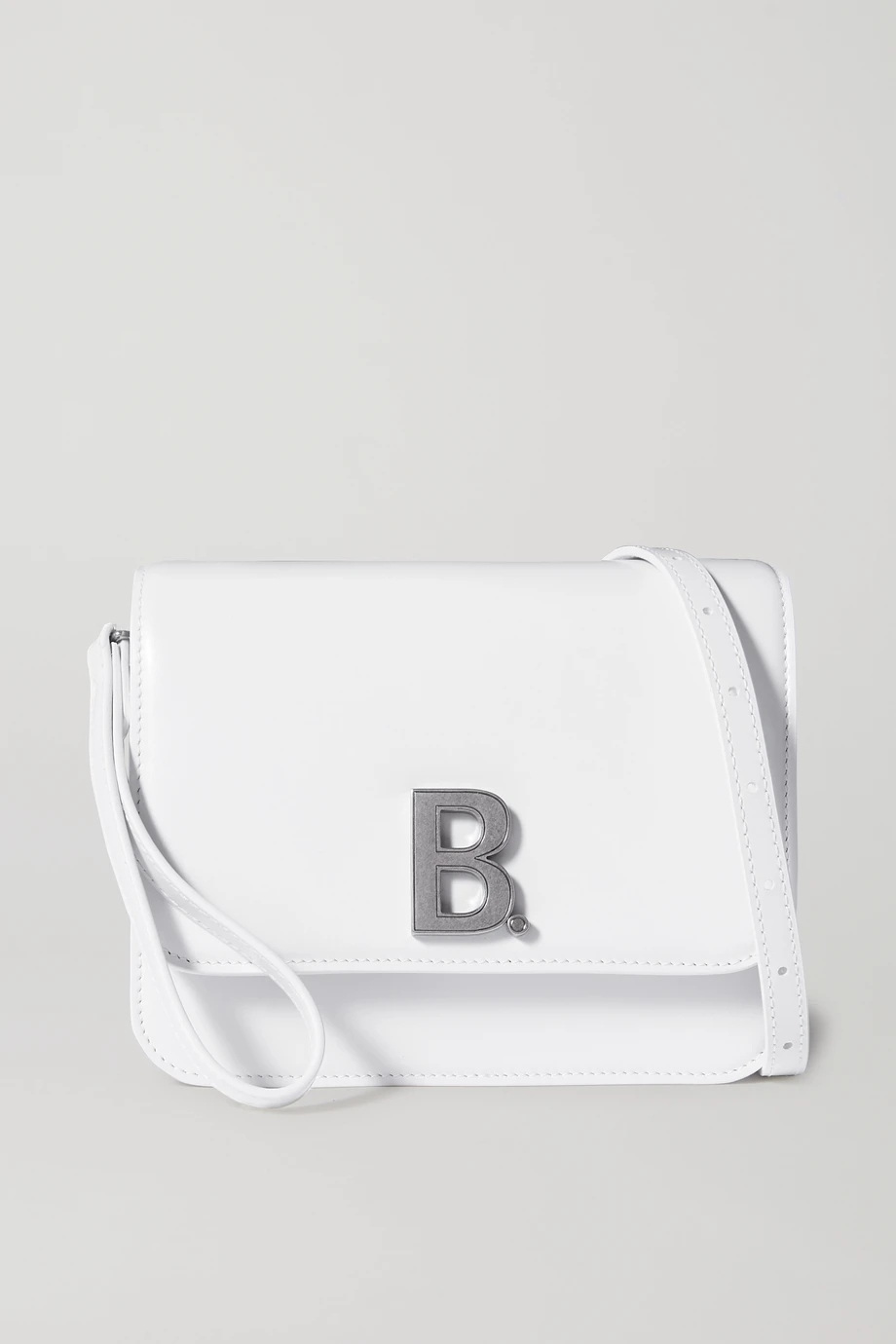 balenciaga-b-dot-small-leather-shoulder-bag-white