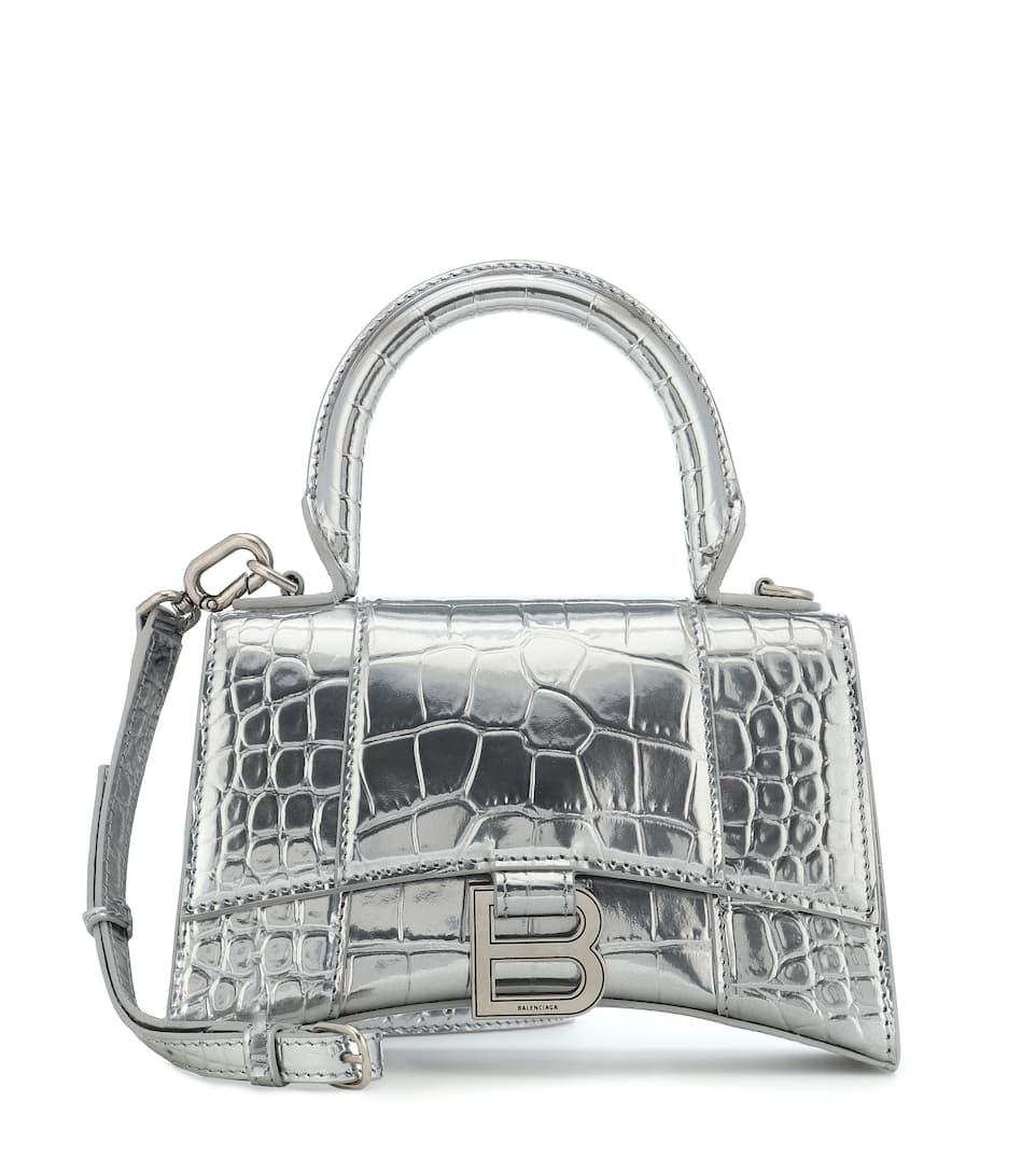 balenciaga-hourglass-mini-silver-croc-effect-leather-tote