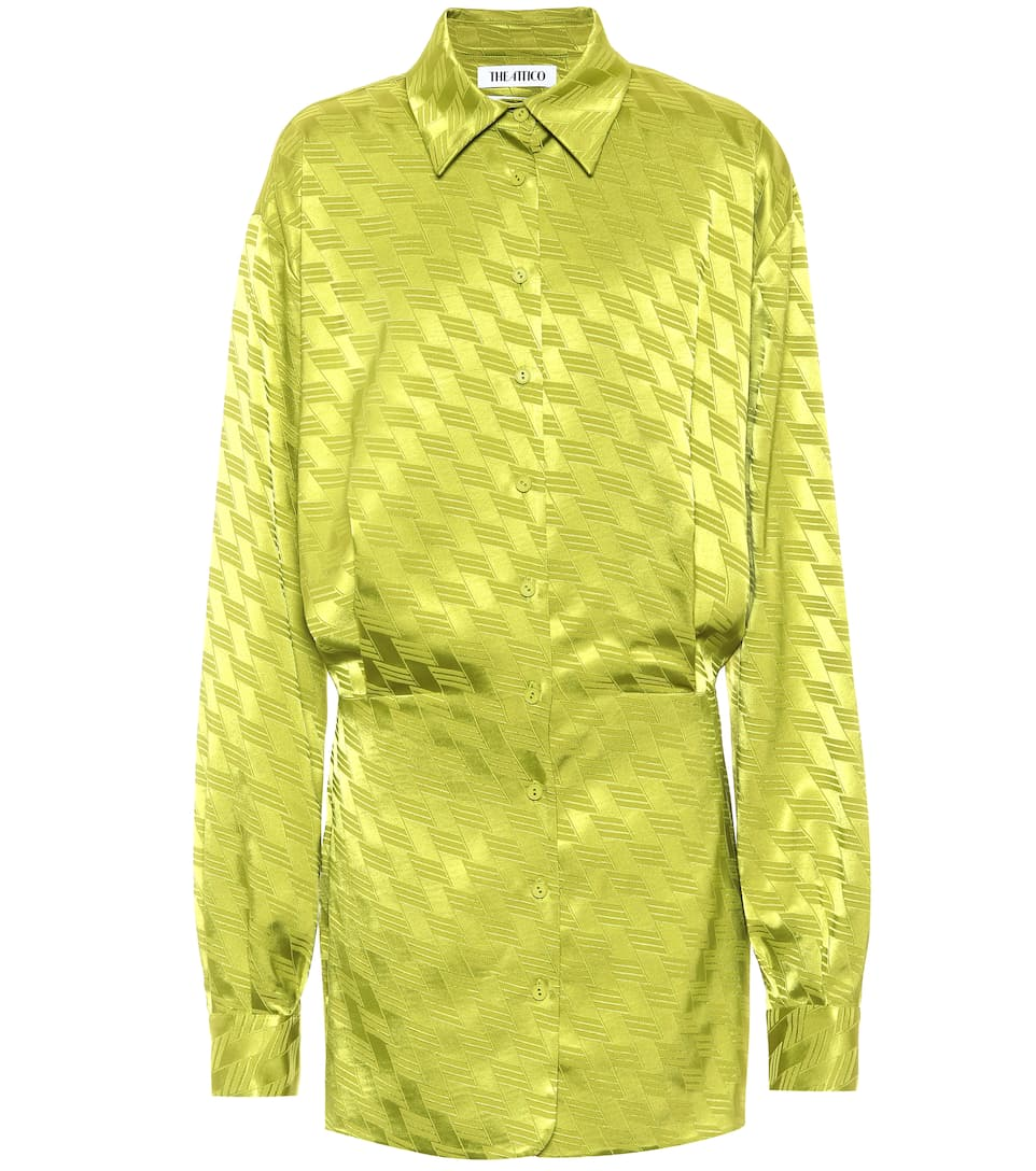 the-attico-satin-jacquard-shirt-dress-pistachio-green