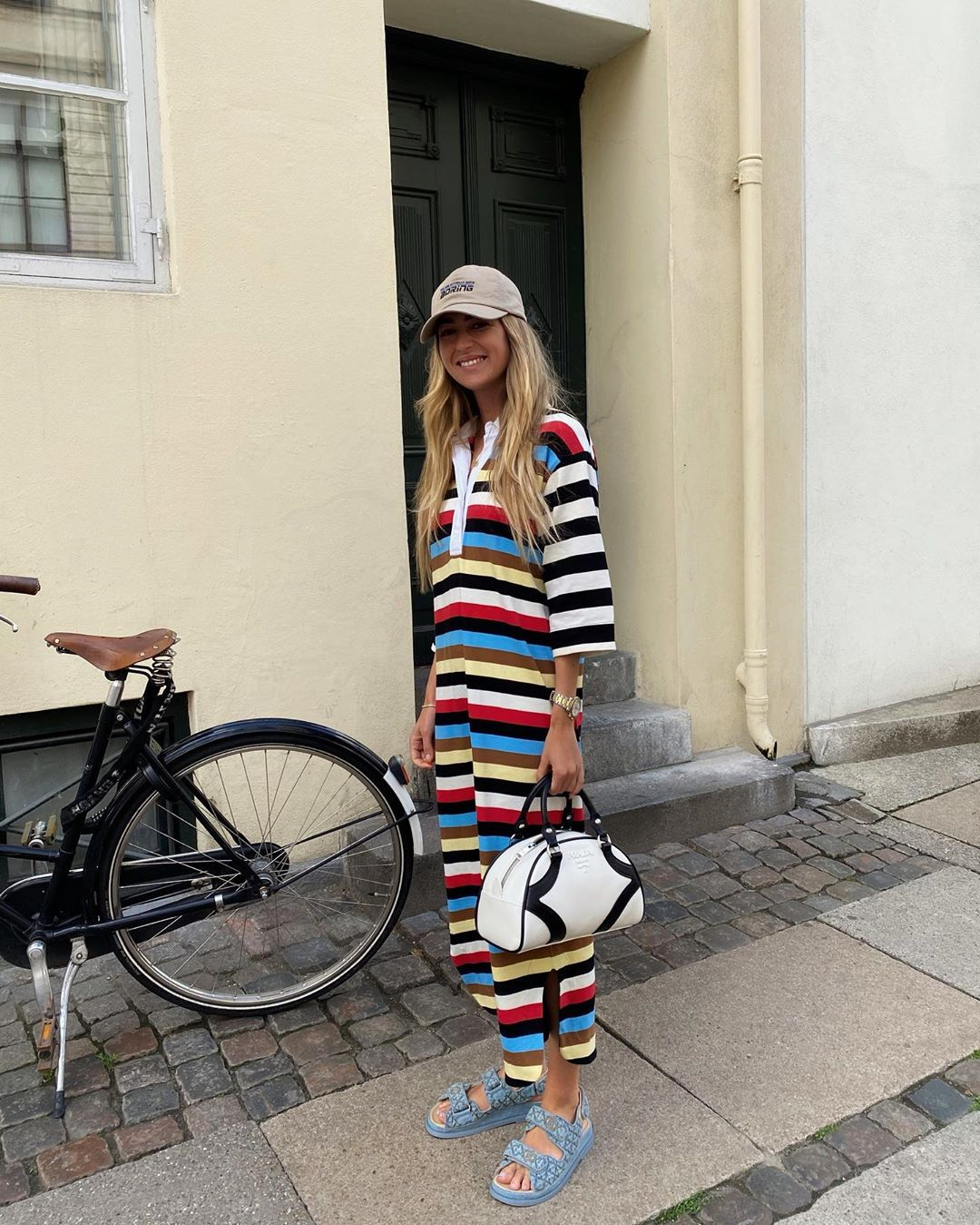 emili-sindlev-ganni-striped-cotton-jersey-dress-instagram