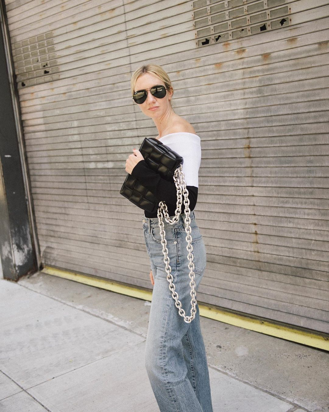 lisa-aiken-proenza-schouler-off-the-shoulder-two-tone-stretch-knit-top-instagram