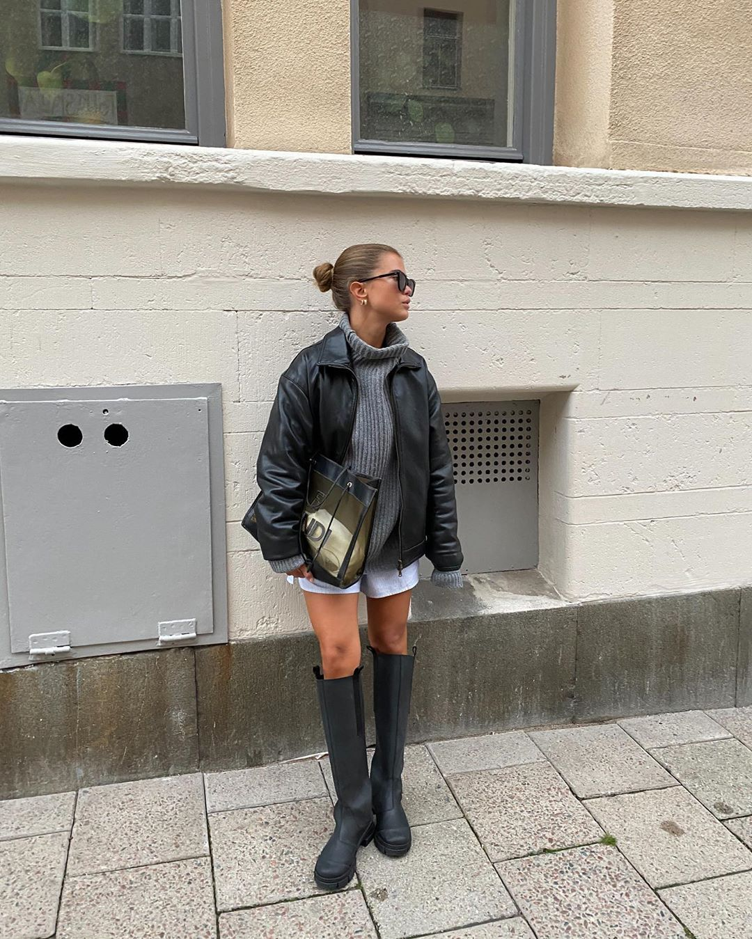 matilda-djerf-ganni-rubber-knee-high-boots-instagram