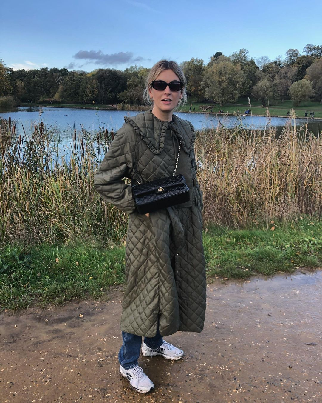 camille-charriere-ganni-quilted-ripstop-coat-instagram